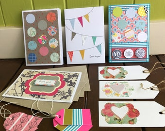 Greeting Card & Gift Tag Pack, Mixed Set, Thank You Card, Just For You Card, Bunting Card, Die Cut, Washi Tape, Kaisercraft Stamped, Value