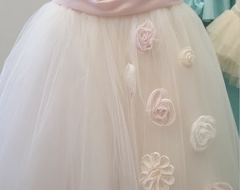 Tuille flowergirl Dress  with Scattered FLOWERS