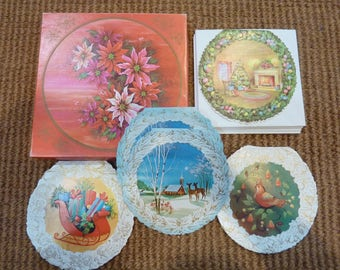 Vintage Round Christmas Cards Box
