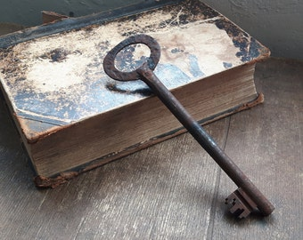 Very large antique metal skeleton key, rare antique large key, rustic home decor