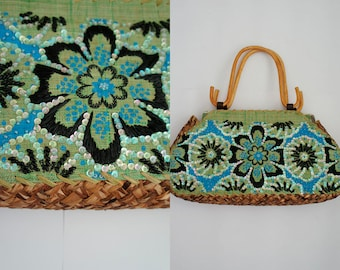 Raffia Vintage Handbag. Green and blue floral embroidery with sequins. Wooden handles. Made in Philippines.