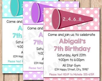 Cheerleader Birthday Invitation | Cheer, Girl, Megaphone, Any Color (pick your team colors) - 1.00 each printed or 10.00 DIY file