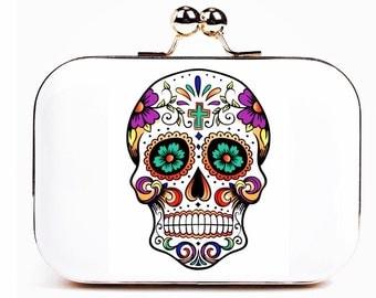 Sugar skull clutch purse