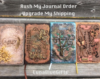 Rush my order, Upgrade my shipping, For Personalized journals and sketchbooks order, Polymer clay covered Journals, Sketchbook