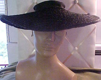 "1930s Vintage Wide Brim (5 1/2"") black Straw Hat 2256"