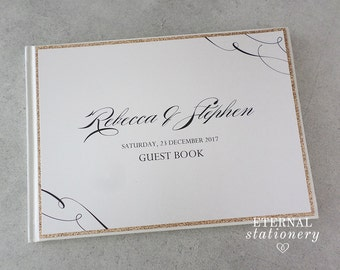 "Wedding Guest book, Hardcover - ""Rebecca"" Gold / Ivory"