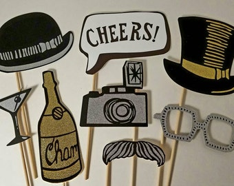 Photo Booth Props-Great for Birthday Parties, Weddings, Showers and more- 8 pieces