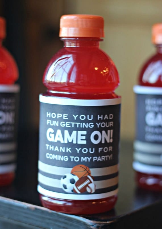Boy Sports Birthday Party Decorations Gatorade Labels
