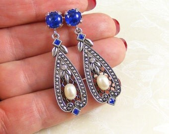 Sapphire & Pearl Edwardian Style Earrings, Award Winning Arcadia by Blucha Collection, Handcrafted Vintage Crystal Jewellery