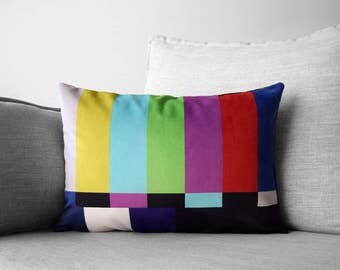 "SMPTE color bars - 14"" x 20"" velveteen pillow case - television test pattern"