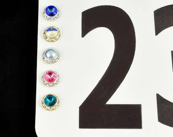 """25 colors, Horse Show Magnetic Number Pins, Set of four, 1/2"""" (13mm), Horse Show Number Magnets, saddle seat magnets, saddleseat magnets"""