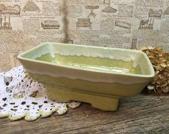 Vintage Drip Glaze Planter/Footed/Oblong/Succulent Planter/Gold