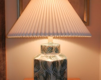 Large Ceramic Base Lamps are back - Comes with Large Corrugated Shade