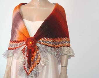 Hand Knitted Crochet Shawl /Triangle Shawl/ Handmade Shawl