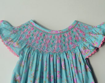 Aqua Floral Smocked Bubble