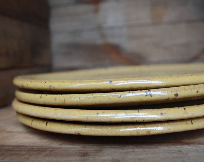 Set of 8 - Dinner Plates - Speckled Yellow - KJ Pottery