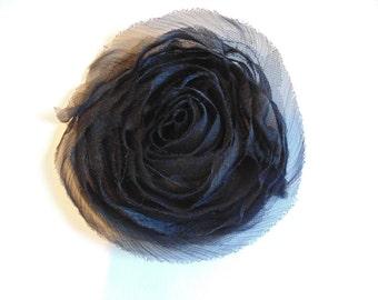 Black Tulle Rose Flower Applique Lace Trim Floral Embellishment Black Lace Applique