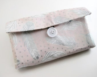 Cash Envelope Wallet | Cash Budget Wallet | Money Envelope System - Pink Feathers|  Women's Wallet