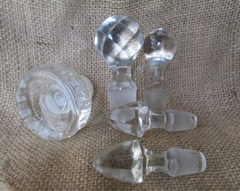 Vintage Glass Bottle Stoppers, Set of 5, Different Shapes and Sizes