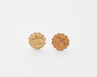 Fleur De Lis Earrings, French Lily Earrings, Anchor Studs, Gold Lily Earrings, Fleur De Lis Stud Earrings, French Earrings, French Jewelry
