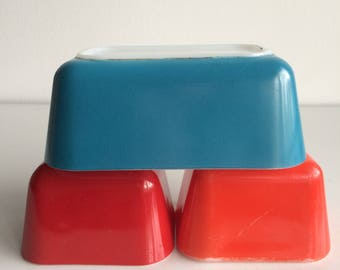 Vintage Pyrex Primary Fridge Dishes 2 Red Dishes and 1 Blue Fridge Dish No Lids Set of 3