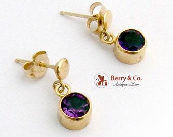 Round Dangle Amethyst Earrings 14 K Gold