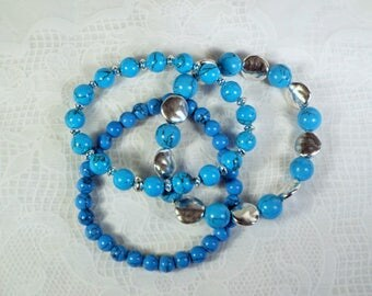 "Cynthia Lynn ""SANTA FE"" Blue Turquoise Beaded Hammered Silver Plated Bracelet Set"