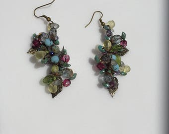 Dangle 3 Dimentional Earrings, Beaded Wire Crocheted with Czech Glass Beads