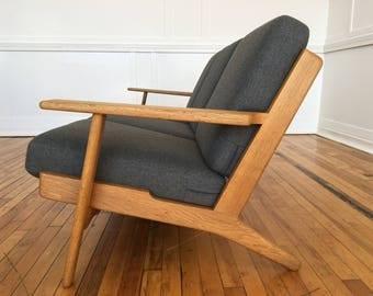 Mid Century Danish Oak Plank Sofa Model GE-290 by Hans Wegner for Getama