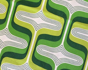70's vintage green psychedelic print cotton sheet fabric