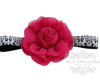 Damask Headband/Baby Headband/Baby Headband and Bow/Infant Headband/Baby Girl Headband/Girl Headband Baby/Christening Dress/Baby Outfit