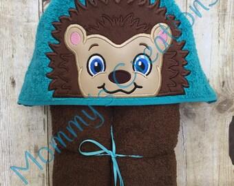 """Hedgehog Boy Applique Hooded Bath, Beach Towel 30"""" x 54"""""""