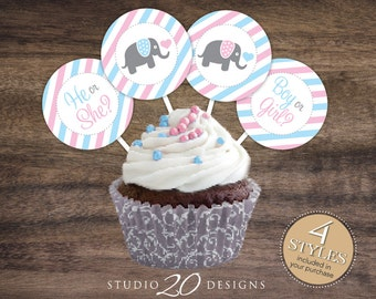 "Instant Download 2"" Gender Reveal Elephant Baby Shower Cupcake Toppers, He or She Pink Blue Elephant Cupcake Toppers, Boy or Girl 22J"