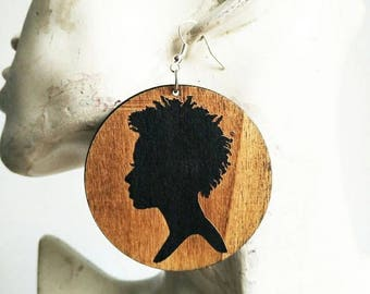 Strong Black Woman- Wooden Earrings- Qty: 1 pair