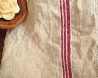 223. Flax linen towel, vintage organic linen towel, pure flax linen towel, handwoven guest towel from 1940s (unused)