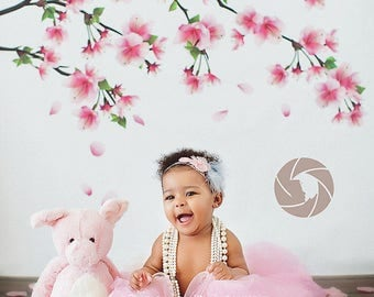 CLEARANCE 30% OFF - 6ft x 6ft Cherry Blossom Branch Photography Backdrop - Tree Limb Photo Backdrop - Flowers - Vinyl - Item 1595