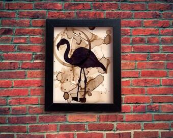 Coffee Art Flamingo Silhouette Print, Flamingo Print, Coffee Stained paper, Bird Silhouette, Sharpie Art, Bird Print, Coffee Stained art
