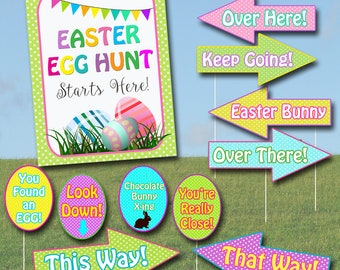 Easter Egg Hunt Sign Kit, Printable Egg Hunt Arrows, Easter Party Sign, Easter Egg Hunt Yard Signs Easter Bunny Printable, Easter Decoration