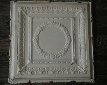 "Vintage antique tin ceiling tile 24"" x 24"" panel solid nice pieces so many uses. This is for 1 tile."
