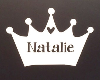 DIY Princess Crown Decal, Crown Decal, Personalized Crown Decal, Royalty, Girl Decor, Wall Decal, Queen Decor, Crown with Name, Vinyl Decal