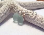 Sea Foam Green Sea Glass Drop Earrings