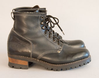 Unisex Black Leather Logger Boots Vintage 90s Lace Up Ankle Boots Stone Ridge Work Boots Engineer Boot Motorcycle Boots Wood Heel Thick Sole