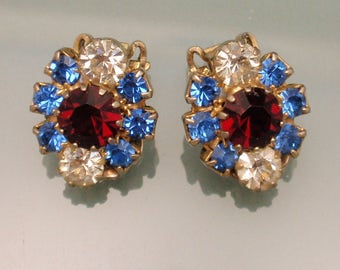 Weiss Red White Blue Vintage Earrings