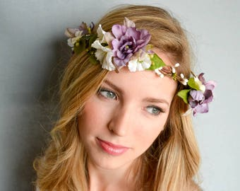 Silk flower crown in orchid and white. Floral wedding headpiece. Boho wedding crown. Orchid, white & greenery floral crown. Bridal wreath