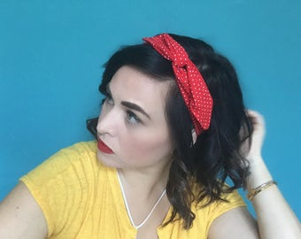 Red and White Polka Dot Wire Headband