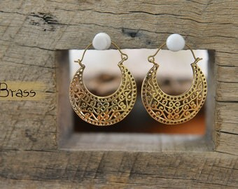 Lalli Earrings, Ethnic Brass Earrings, Gipsy Earrings, Tribal Earrings, Indian Earrings, Bohemian Earrings, Yoga Jewellery