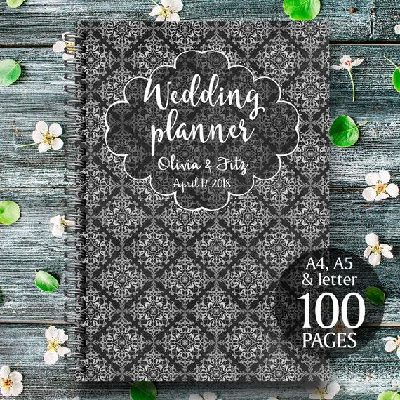 Damask wedding planner, Black digital wedding kit, Black wedding organiser, Printable black wedding checklist, Instant download wedding kit