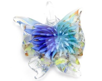 """Handmade Lampwork Butterfly Pendants in Blue and Turquoise 1.75""""x1.5"""" 1pc"""