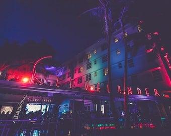"Miami, South Beach, Miami Photography, Clevelander, Neon Sign, Miami at Night, Ocean Drive Print, South Beach Wall Art ""Clevelander"""