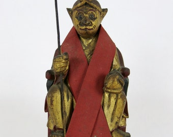 Old Sun Wukong Chinese Monkey King Gilt Wood Carving Statue